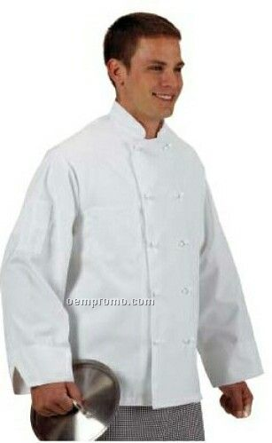 Cook's Classics Twill Chef Coat L/S W/ Cloth Knot Button - White (2xl-3xl)
