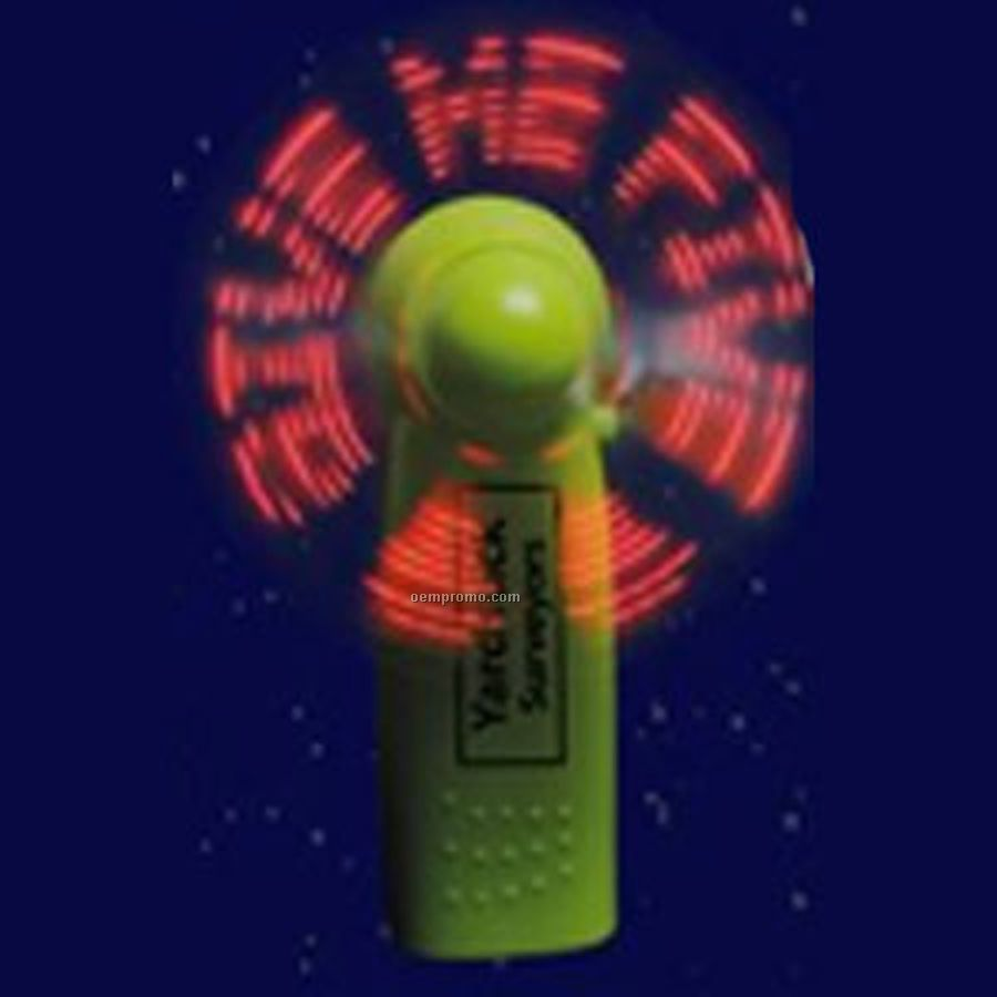 Green Light Up Fan With 7 Red LED Preprogrammed Message