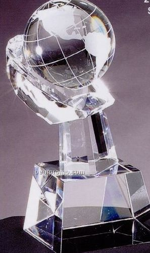 Handheld Globe Prism Optical Crystal Award (3 1/2
