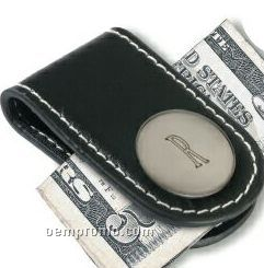 Insignia Series Black Leather Magnetic Money Clip