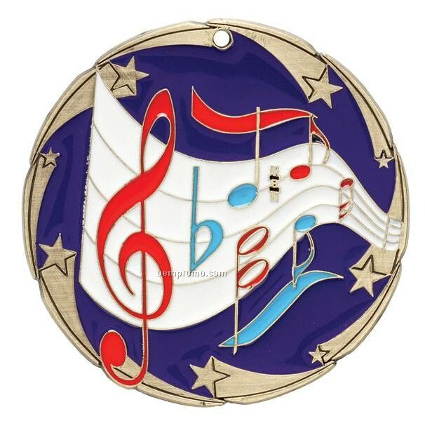 "Medal, ""Music"" Color Star - 2-1/2"" Dia."