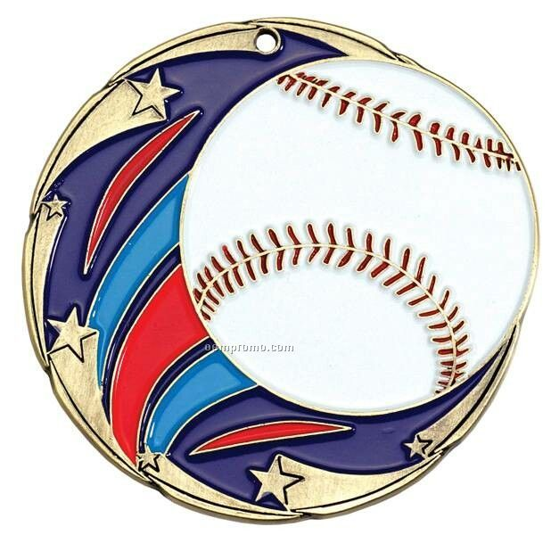 """Medal, """"Baseball"""" Color Star - 2-1/2"""" Dia."""