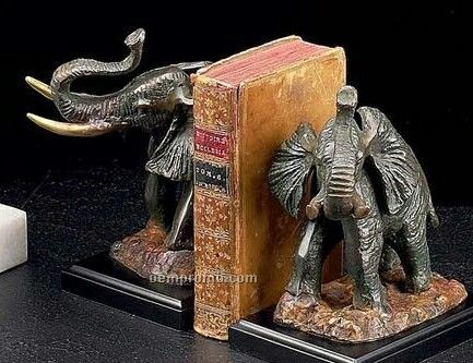 Elephant Bronzed Brass On Wood Bookend