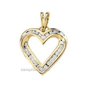 Ladies' 14ky 1/4 Ct Tw Diamond Round Heart Pendant