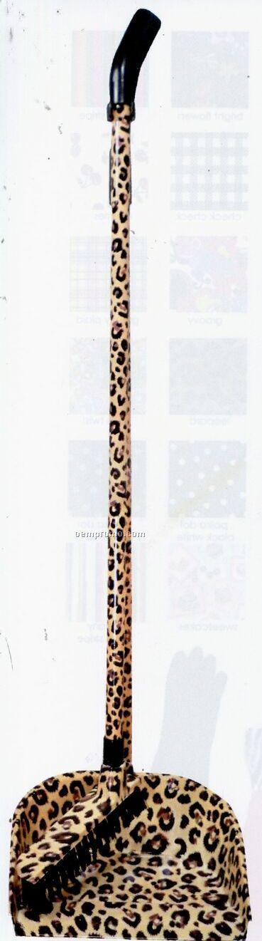 Leopard Butler Broom W/ Dust Pan