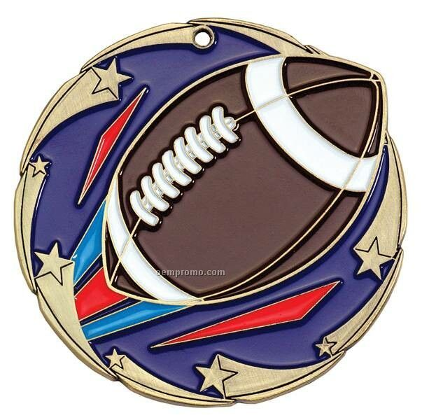 "Medal, ""Football"" Color Star - 2-1/2"" Dia."