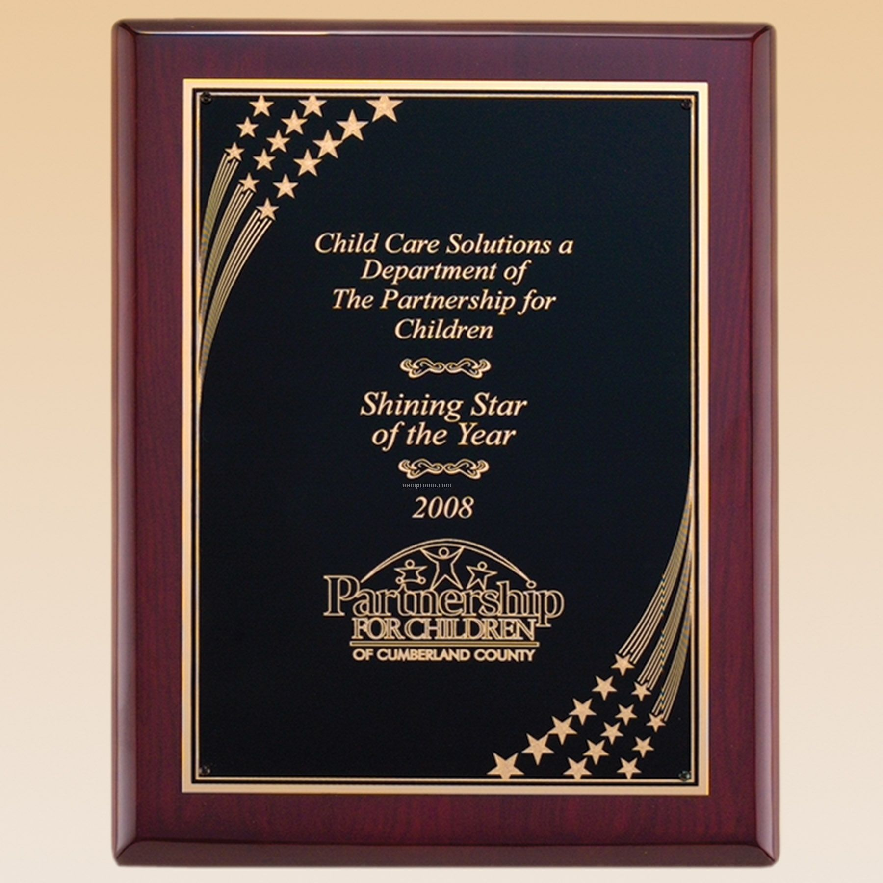 Rosewood Piano Finish Plaque W/ Star Shower Engraving Plate