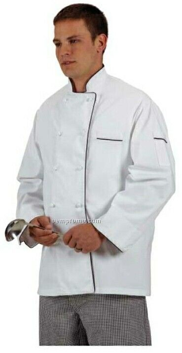 Cook's Fashion White Chef Coat W/ Black Piping (S-xl)