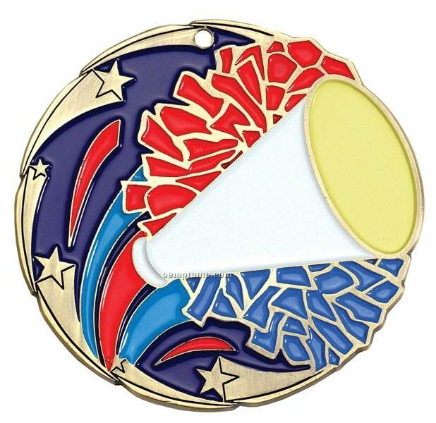 "Medal, ""Cheerleading"" Color Star - 2-1/2"" Dia."