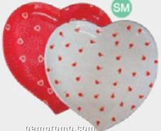 White Heart Shaped Specialty Tray W/ Red Hearts