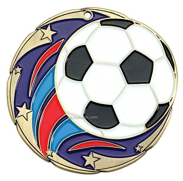 "Medal, ""Soccer"" Color Star - 2-1/2"" Dia."