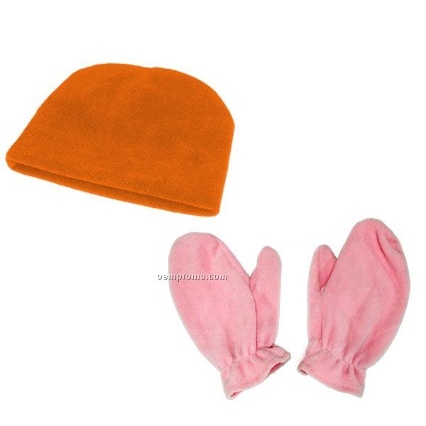 100% Microfleece Youth Hat And Mitts Combo