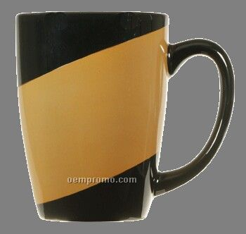 16 Oz Black Endeavor Ceramic Coffee Mug With Colored Stripe