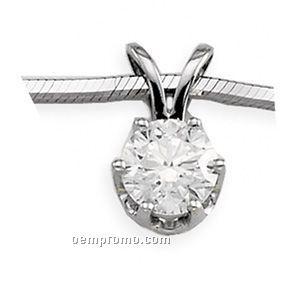 Ladies' 14kw 1/4 Ct Tw Diamond Round Pendant (6 Prongs)