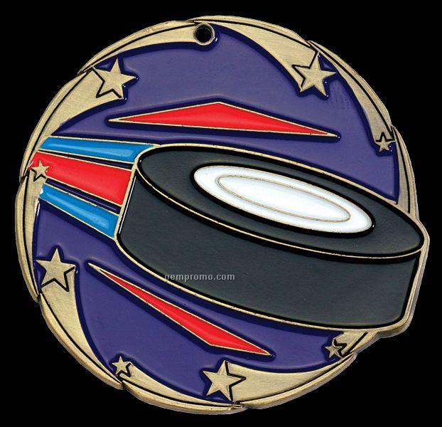 "Medal, ""Hockey"" Color Star - 2-1/2"" Dia."