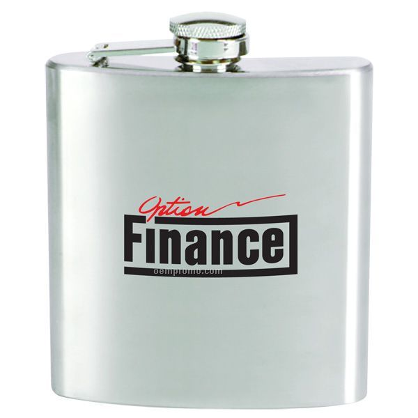 6 Oz Steel Hip Flask W/ Hinged Cap