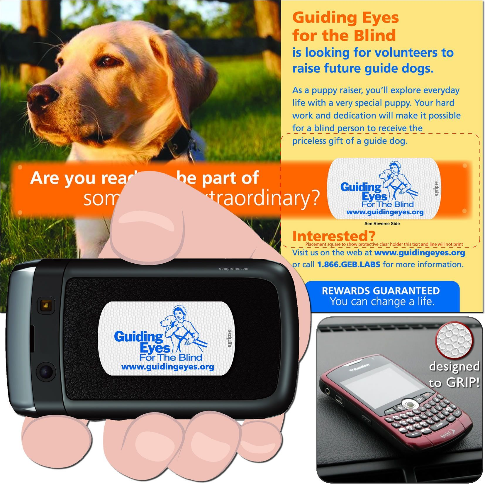 Egrips Non-slip Strip + Direct Mail Card (The Cell Phone Grip)