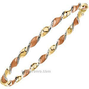 Ladies' 14k Tri-color Hinged Twisted Bangle Bracelet