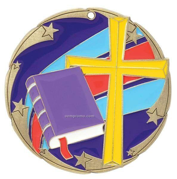 """Medal, """"Religion"""" Color Star - 2-1/2"""" Dia."""