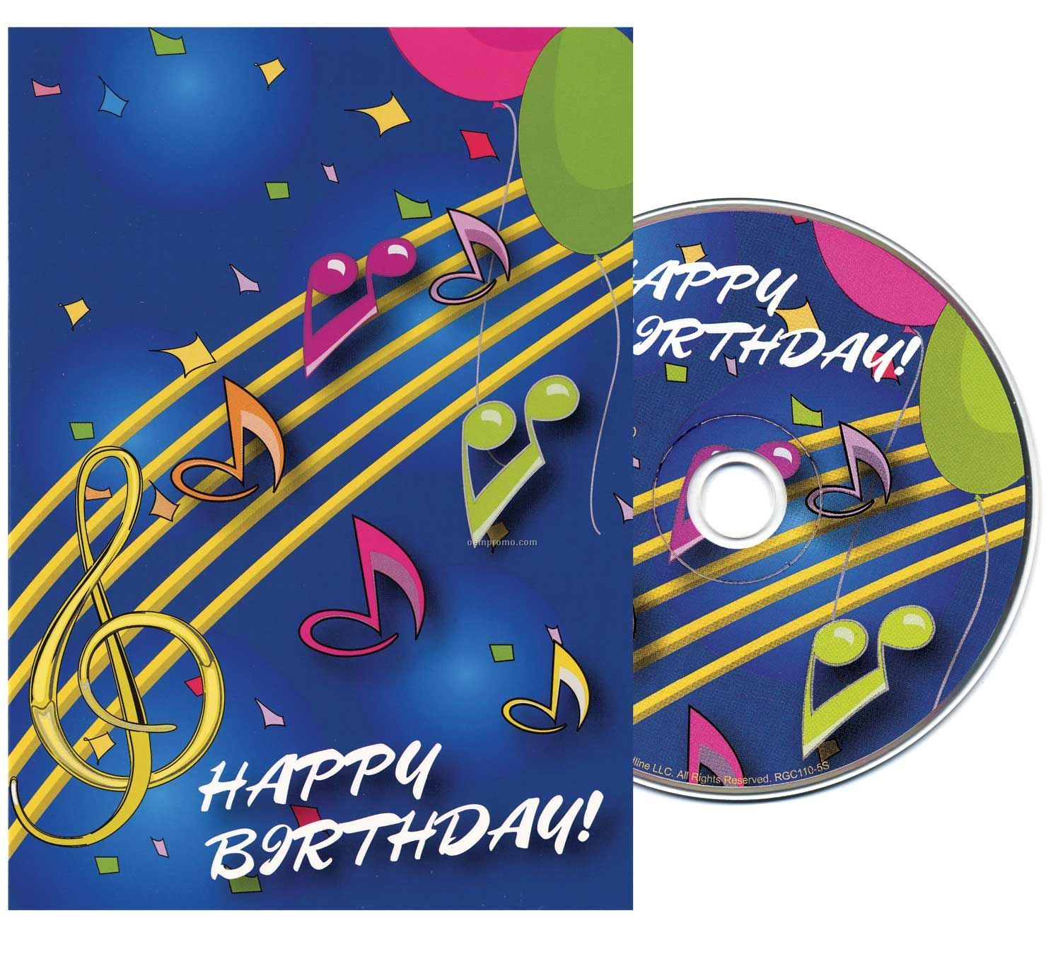 Music Notes Birthday Greeting Card With Matching CD