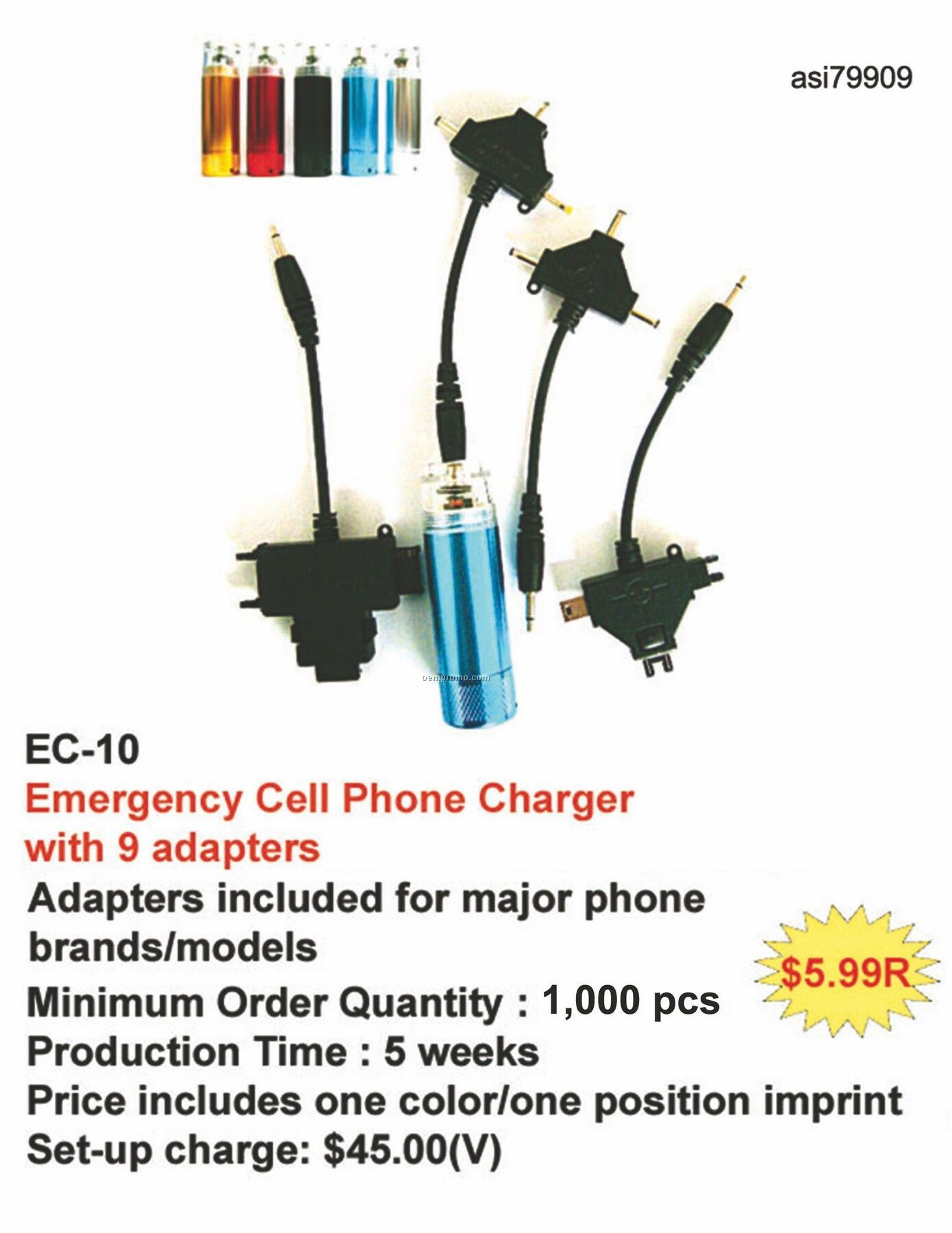Emergency Cell Phone Charger For Iphone, Ipod, Android, Blackberry