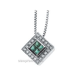 Ladies' 14kw 2-1/2mm Genuine Emerald & 1/4 Ct Tw Diamond Round Necklace