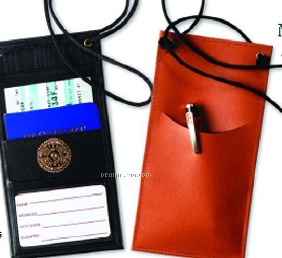 Neck Travel Document Holder - Top Grain Cowhide Leather