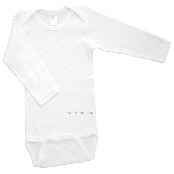 White Rib Knit Long Sleeve Onezie
