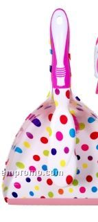 Polka Dot Multi Color Dust Pan W/ Hand Broom