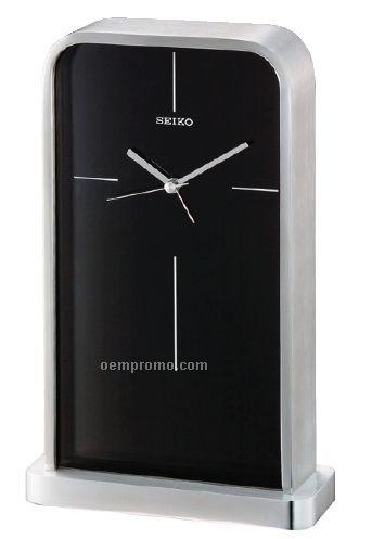 Seiko Silver Metal Case/ Glass Crystal Desk & Table Clock