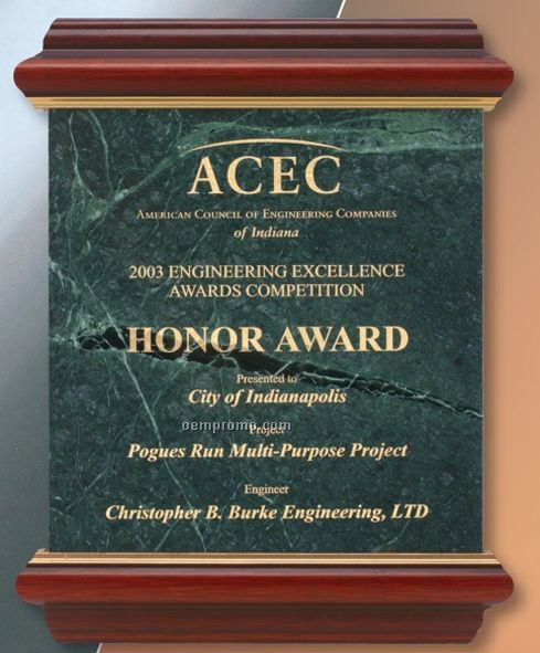 """Solid Marble Award Trimmed In Mahogany Wood (9""""X12"""")"""