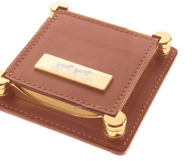 Gold Tone Brass & Brown Leather Note Holder