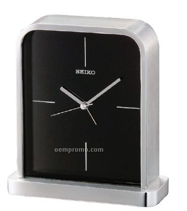 Seiko Silver Metal Case/ Glass Crystal Desk & Table Clock