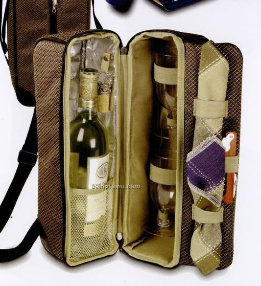 Wine Carrier With Goblets, Corkscrew & Bottle Stopper