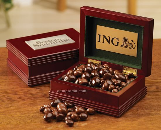 1 Confection Mahogany Finish Box W/ Engraved Plate