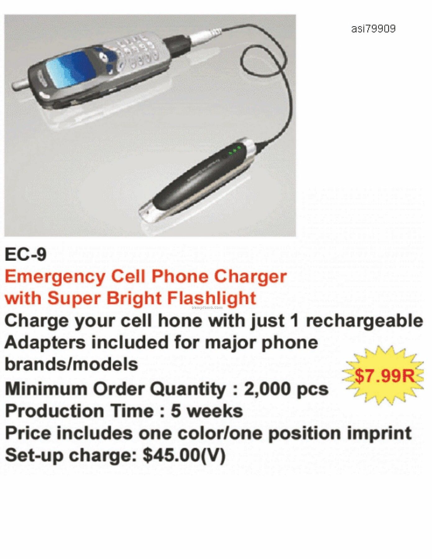 Emergency Cell Phone Charger / Flashlight (Adapter Tips Included)