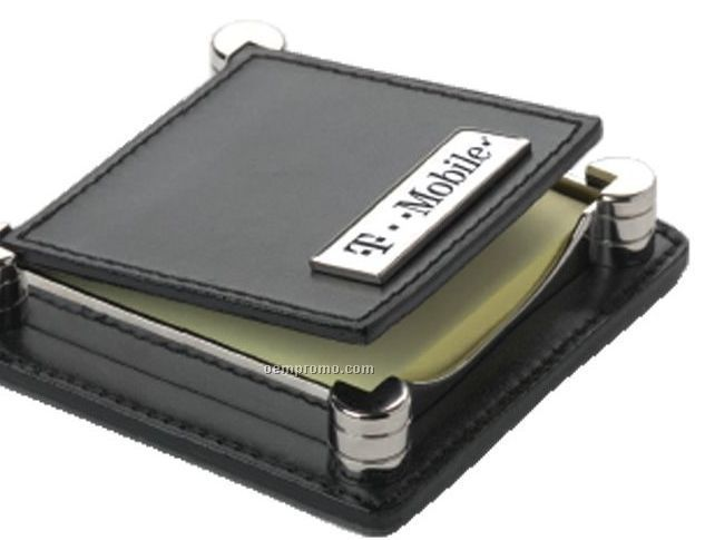 Silver Tone Brass & Black Leather Note Holder