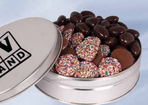 2 Way Round Tin With Candy And / Or Nuts
