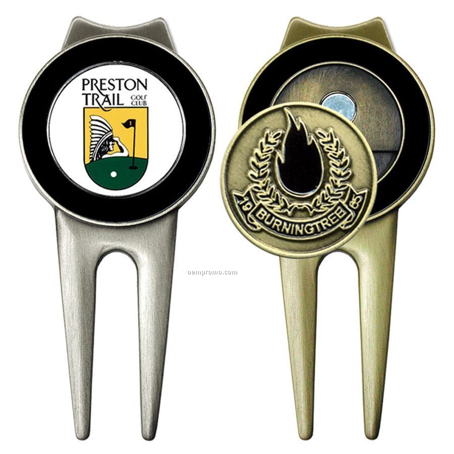 Color Magic Spectrum Golf Divot Tool W/ Ball Marker (Antique Brass/Nickel)