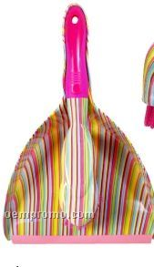 Bright Stripe Dust Pan W/ Hand Broom