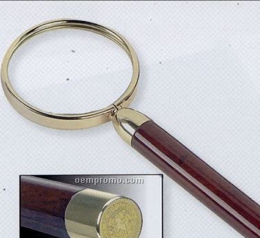 Gold Plated Magnifying Glass W/ Rosewood Finish Handle