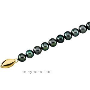 "Ladies' 18"" Panache Freshwater Black Cultured Pearl Strand W/ 14k Clasp"