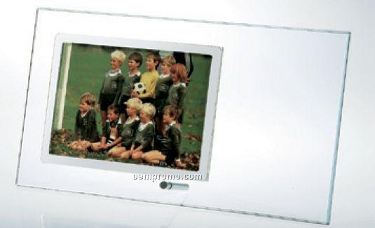 "Starfire Clear Glass Horizontal Stainless Photo Frame (5 1/2""X11""X3/16"")"