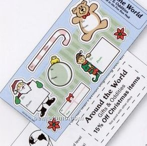 White Paper Christmas Holiday Sticker Sheet (Santa & Elf W/ Signs)