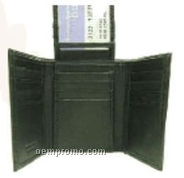 Black Tri-fold Lambskin Wallet W/Center Top Flap