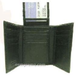 Black Tri-fold Lambskin Wallet W/Center Top Flap