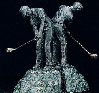 Patina Brass Man Golfer Bookend