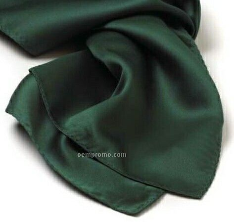 "Wolfmark Solid Series Hunter Green Silk Scarf (45""X8"")"