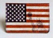 "4-1/4""X1/4""X2-3/4"" Stars & Stripes 2-pocket Leather Business Card Wallet"