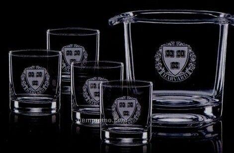 Aristocrat Ice Bucket & 4 On The Rocks Glasses
